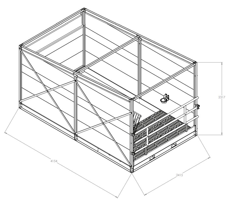 Mobiler Kälberstall - Technische tekening
